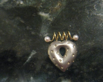 """Vintage signed """"Laura Carley"""" puffed heart pendant w/18kt.gold & pearl bale"""