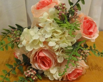 Pink Roses with Hydrangea Bouquet