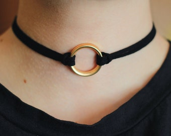 Black Choker with golden ring