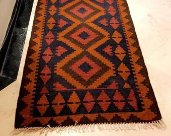 Article # 5059 Marvellous Maimana Hand Woven Kilim Ruuner Rug Double Face Design 290 x 82 cm