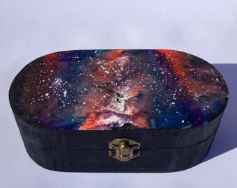 Galaxy Design Hand Painted Wooden Keepsake Jewellery Box