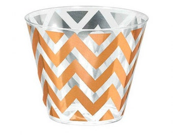 Rose Gold Chevron Tumbler Cups/ Rose Gold Chevron Party Cups/ Rose Gold Party Cups/ Chevron Party Cups/ Rose Gold Gold Party