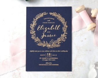 Charming Garland Wedding Invitation – Foil Stamping, Navy 16064