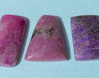 3 Sugilite Cabochons-Purple, Pink, and Fuchsia-13 Cts. Total