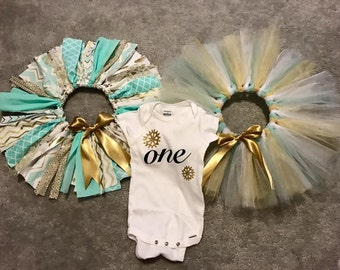 Mint and gold tutu and onesie