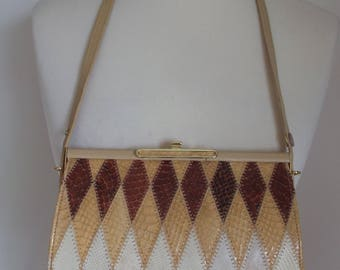 Jane Shilton brown/beige/tan and cream snakeskin leather handbag