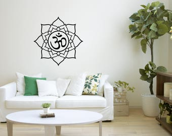 Mandala Decal, Yoga Studio Decor, Wall Art, Spiritual Design, Hinduism, Buddhism, Handmade Pattern, Sacred Sign, Decoration Idea, Om, 45