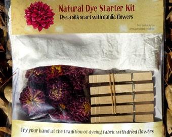 Natural Dye Starter Kit with dahlia flowers