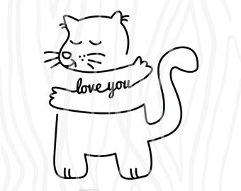 SVG / DXF - Love You - Hugging Cat for Baby, Instant Download (Cute Vector Art / Saying / Hand drawn)