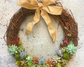 Half Round Succulent Wreath -18in