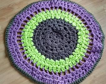 Crocheted rug, handmade rug, round rug, round crocheted rug