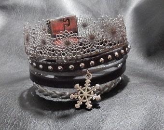 Shade of grey Crown Cuff Bracelet