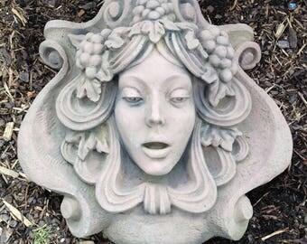 F 34 art antique sandstone look Art Nouveau woman grapes
