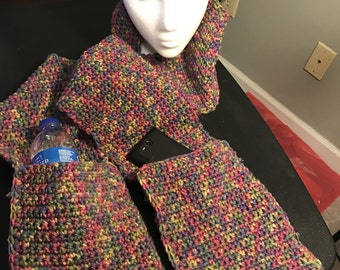 Multicolored, warm, scarf with pockets
