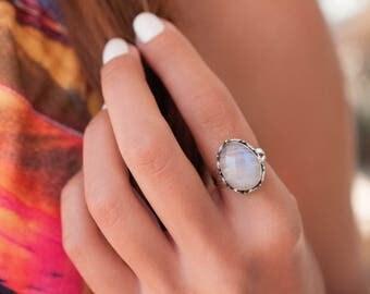 Moonstone Ring ~ June Birthstone ~ Sterling Silver 925 ~ Gemstone ~ Jewelry ~ Statement ~ Boho ~ Handmade ~ Bohemian ~Hippie ~Gypsy~MR045