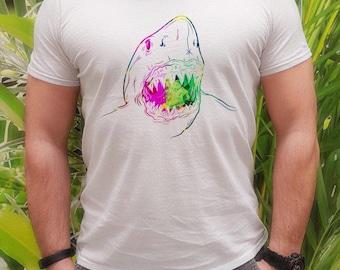 White shark t-shirt - Shark tee - Fashion men's apparel - Colorful printed tee - Gift Idea