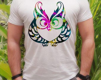 Wise owl  t-shirt - Owl tee - Fashion men's apparel - Colorful printed tee - Gift Idea
