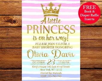 Rainbow Baby Shower Invitation, Baby Shower Invitation, Princess Baby Shower Invitation, Rainbow Invitation 097