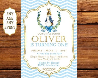 Peter Rabbit Birthday Invitation, Boy First Birthday, Peter Rabbit Birthday Invite, Printable Invitation, Peter Rabbit Party 158