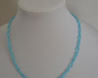 Aqua Opaque Beaded Necklace.
