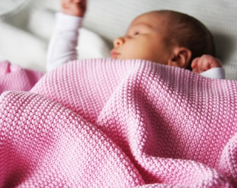 PINK Knit baby blanket / knitted blanket / Baby shower/ Newborn MUST HAVE