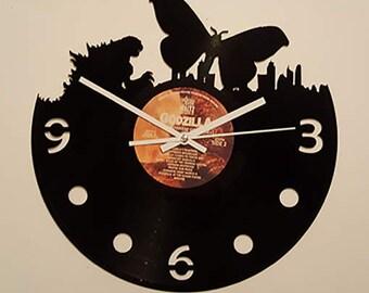 Vinyl Clock Godzilla versus Mothra, Christmas gift, Wall clock, vinyl record clock