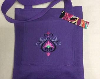 Purple linen bag