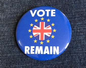 """Vote Remain EU stars and Union Flag 58mm (2 1/4"""") pin button badge"""