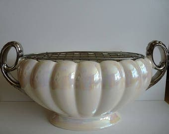 H J Wood Lustreware rose bowl