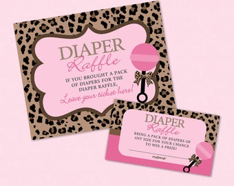 Leopard Baby Shower Diaper Raffle Ticket And Diaper Raffle Sign - INSTANT DOWNLOAD