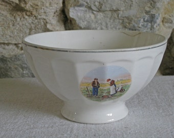 Large cafe au lait bowl with harvest scene, antique French faience tableware
