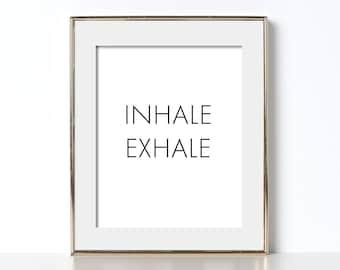 Inhale Exhale Print Yoga Studio Decor Pilates Poster Meditation Gift Yoga Studio Printable Yoga Poster Digital Download Yoga Printable Art