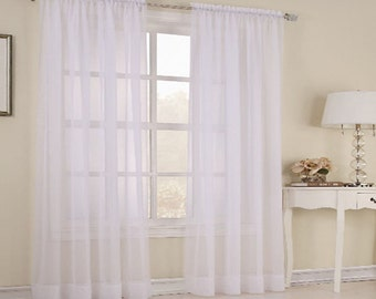 White curtain - FREE SHIPPING - 2 piece sheer curtains: Color White from Ukraine - Excellent quality