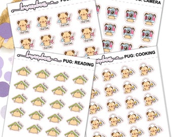 Pug Hobbies - planner stickers erin condren happy planner