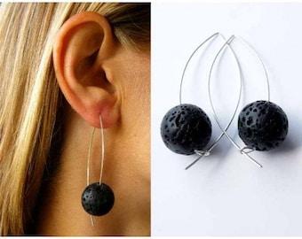 Silver earrings, earrings, silver, black, LAVA black, handmade new