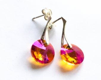 Orange, purple, Silver earrings, Silver earrings, Swarovski elements, Sterling Silver 925