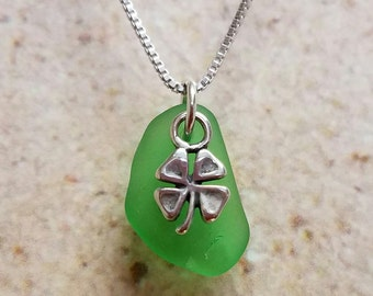 Lucky Clover Lake Erie Sea Glass Necklace