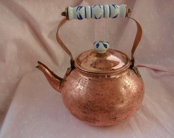 Vintage Copper Tea Kettle with Delft Porcelain handle and lid knob, round shape with curved spout