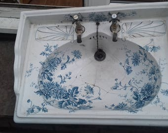 Large Heavy Antique Delta Victorian sink with original taps