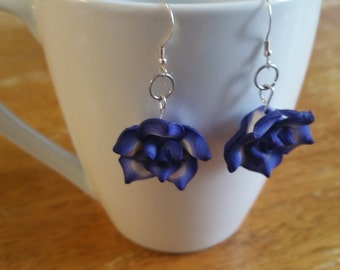 Violet flower earrings