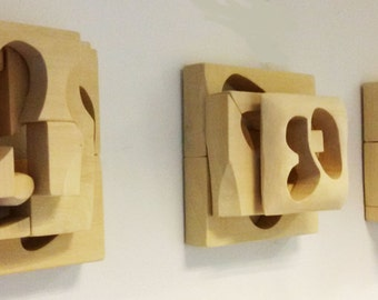wood wall art, wall sculpture, modern wood art, wall hanging sculpture