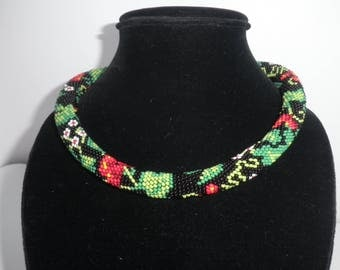 """Beautiful necklace """"The guelder-rose on black"""""""
