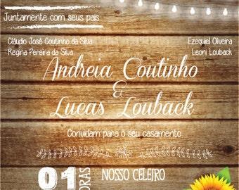 Rustic Wedding Invitation (Portuguese or English) Digital File