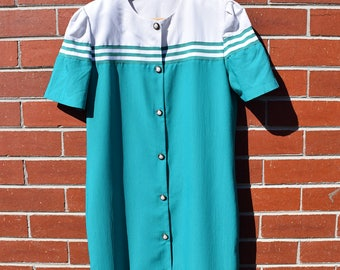 Turquoise Nautical 80's Vintage Dress