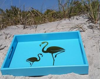 Aqua Flamingo Wooden Tray