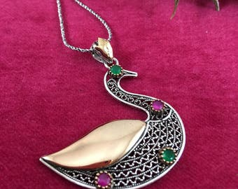 Swan Necklace, swan Pendant ,Silver, gemstones necklace, swan filigree mothers day, gift for her