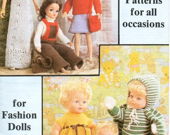 original dolls clothes knitting pattern booklet Wendy 543 baby dolls fashion dolls Barbie hard copy paper pattern book