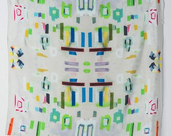 Silk scarf with color magic tape print