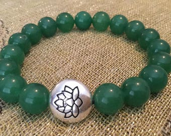 Lotus flower Wellness Beaded bracelets Jewelry Bracelets Lotus flower Prosperity Luck Healing Mala beads Aventurine Abundance Yoga beads Zen