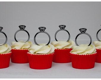 Diamond ring cupcake picks